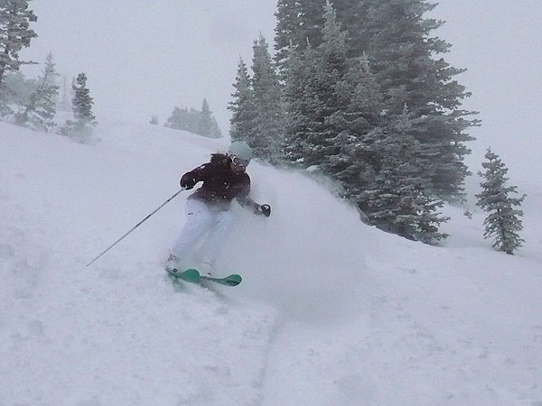 Jessica Kunzer of Ski Utah getting after it at Snowbasin